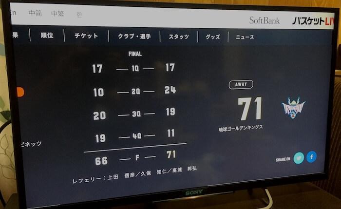 バスケットLIVE試合詳細